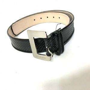 Michael Kors Black leather belt medium snake